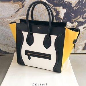 Celine Tricolor Mini Luggage Leather Tote